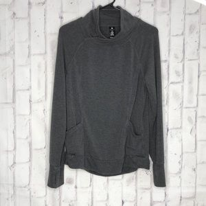 Yogalicious Relaxed Gray Sweatshirt Pullover Sz M
